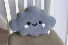Grey Cloud Pillow Cute Pillow Kawaii by hannahdoodle on Etsy