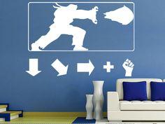 Hadouken Haduken Poster Ryu Ken: Geek Gamer Vinyl Wall Sticker Street Fighter for kids room free shipping(China (Mainland))
