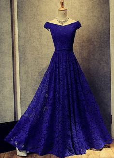 Royal Blue Lace Off Shoulder Evening Gowns, Blue prom dress, #lacegowns, #lacepromdress, #promdresses2018