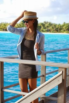 Spring Break Outfit - vacation wear like denim over mini dress