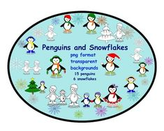 This is a Zip file containing 15 penguins and 6 snowflakes clip art.  All clip…