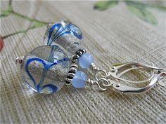 Earrings of BlueGlass Swirl Marbles by JoJosgems on Etsy, $11.00