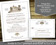 Barn Wedding Invitations Rustic Country Barn By NotedOccasions, $45.00