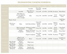 Thanksgiving Cooking Schedule And List