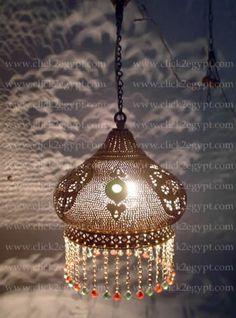 Image of Brass Handmade Moroccan Art Beaded Hanging Lamp Shade