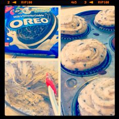 Oreo cupcakes =] an Oreo underneath the cake with crush Oreos in the batter and also in the cream cheese frosting.