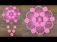DIY Innovative Ideas Of Door Hanging Making At Home /Best Out Of Waste Woolen and Bangles Ideas - YouTube Rope Crafts, Flower Crafts, Diy Crafts Videos, Arts And Crafts, Door Hanging Decorations, Crochet Dreamcatcher, Innovative Ideas, Art N Craft, Macrame Tutorial
