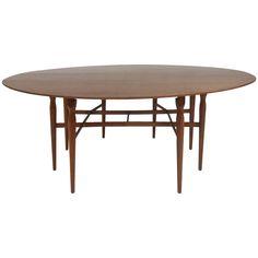 Edward Wormley Style Oval, Drop-Leaf Table | 1stdibs.com
