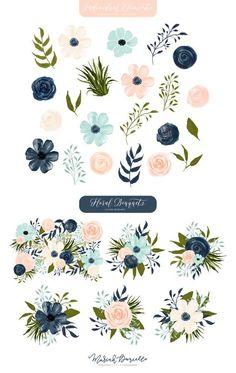 At Dusk Floral Watercolor Clipart Set Watercolor Illustration, Graphic Illustration, Watercolor Flowers, Watercolor Art, Clip Art, Floral Illustrations, Floral Bouquets, Flower Patterns, Textile Patterns