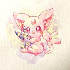 Espeon has a friend! Espeon has a friend! Cute Animal Drawings, Kawaii Drawings, Cute Drawings, Umbreon And Espeon, Pokemon Eevee Evolutions, Cute Pokemon Pictures, Pokemon Images, Pokemon Craft, Pokemon Fan
