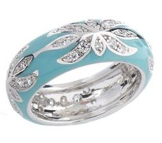 Hidalgo Diamonique Sterling Enamel Floral Band Ring