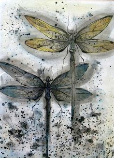 Dragonflies  by Mangle Prints, via Flickr....drypoint and ink.