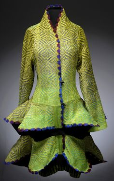 "Patricia Palson says, ""It's very hard to turn the inspiration spigot off."" Let it flow!! Handwoven Jackets at the Smithsonian Craft2Wear, Oct 1-3, 2015, National Building Museum, Washington, DC.  http://swc.si.edu/craft2wear"