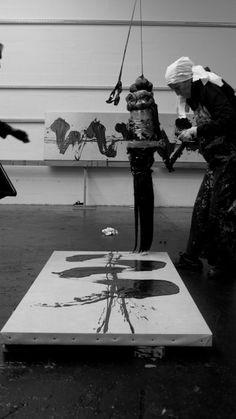 Fabienne Verdier - Contemporary Artist - L'art de la calligraphie monumentale - Travail en Atelier - 2015