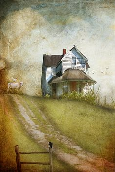 Where the Stairs Still Creak by Distressed Jewell, via Flickr (love the chicken sitting on the cow!)