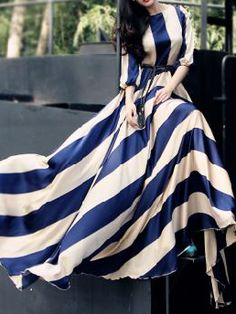 Choies Limited Edition Blue Stripe Long Sleeves Maxi Dress