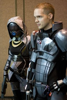 Tali and Shepard from Mass Effect.  I know someone in my house who will go crazy seeing this.