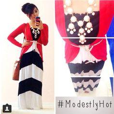 Chevron Maxi Dress  Modest Outfit Ideas