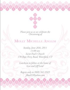 My daughter's Christening Invitation