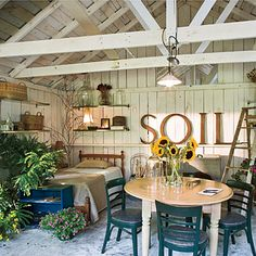Budget-Friendly Backyard Landscaping - Southern Living Not shown but discussed in article - replacing garage or shed doors with French doors.  Bet I can find something at the ReStore