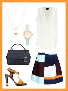 What to wear to work: dein perfektes Büro-Outfit. Bei fast 40 Grad hilft nur noch ein Outfit, dass an einen kühlen See erinntert. Eine ärmellose Bluse, organgefarbene Sandalen und ein luftiger Rock sind da genau das Richtige.