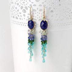 Lapis Lazuli earrings  Cluster beaded tassel of Moss