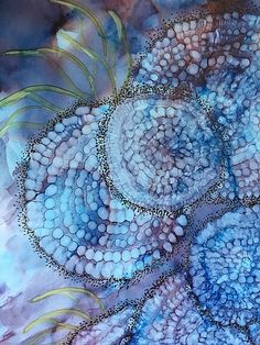 This is an alcohol ink painting done on 9x12 yupo paper. Beautiful ghost flowers on a background of purple and blue. An original artistic creation handmade by me! Comes from a smoke free home