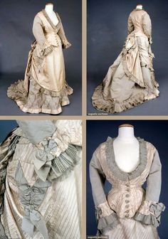 Two-toned gray silk bustle dress, Three pieces in heavy ribbed silk and… 1870s Fashion, Edwardian Fashion, Vintage Fashion, Victorian Style Clothing, Edwardian Gowns, Bustle Dress, 19th Century Fashion, Royal Dresses, Gibson Girl