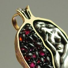 persephone POMEGRANATE silver and bronze garnet pendant by WingedLion on Etsy . Persephone Pomegranate, Jewelry Art, Jewelry Accessories, Jewellery, Gold Jewelry, Tribal Jewelry, Garnet Pendant, Garnet Necklace, Bronze Pendant