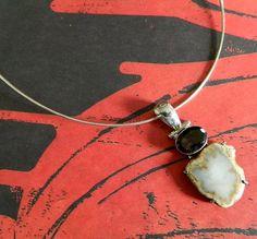 Vintage brown topaz jasper  pendant  on  neck wire   BellaWorxJewelry - Jewelry on ArtFire