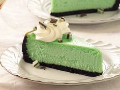 Used mint oreos for the crust, and added some drops of green food coloring to the cake before baking to swirl through it. Topped it with chopped Andes mints. When I make it in the future, I may adapt it more to my standard recipe, as it turned out less firm than I'd like.  Still great flavor though