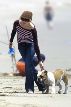 Charlize Theron with cute bulldog