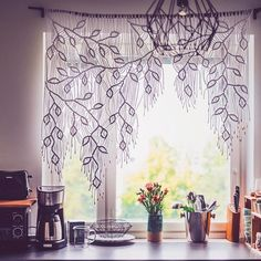 I think this is possibly one of the most beautiful things I have ever seen! A macrame curtain of leaves created by and the best… Macrame Design, Macrame Art, Macrame Projects, Macrame Knots, Macrame Wall Hanging Patterns, Macrame Patterns, Diy Storage Couch, Crochet Curtains, Macrame Curtain