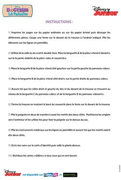 """Le kit de docteur """"Docteur La Peluche"""" instruction"""