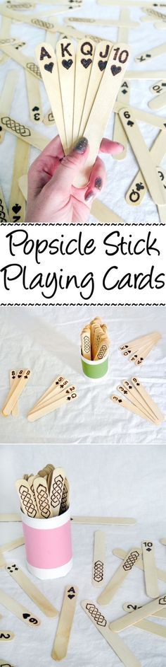 Stick Playing Cards Jumbo popsicle sticks + wood burning = a fun & unique set of playing cards!Jumbo popsicle sticks + wood burning = a fun & unique set of playing cards! Craft Stick Crafts, Wood Crafts, Fun Crafts, Diy And Crafts, Simple Crafts, Lolly Stick Craft, Ice Cream Stick Craft, Craft Sticks, Recycled Crafts