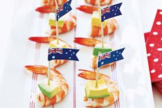 Elegant starters are easy with this prawn, avo and seafood sauce combination. Lamb Recipes, Sauce Recipes, Cooking Recipes, Lamb Skewers, Prawn Skewers, Picnic Menu, Mint Salad, Australian Food, Australia Day