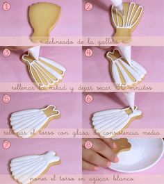 ideas for cupcakes decoration bautizo tutorials Baptism Cookies, Tea Cookies, Fancy Cookies, Cut Out Cookies, Cookies Et Biscuits, Cupcake Cookies, Sugar Cookies, Cookie Favors, Wedding Dress Cookies