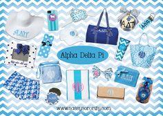 Alpha Delta Pi Sorority Swag. www.sassysorority.com #ADPI #sororitygifts #greek