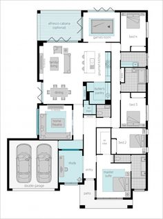 Floor Plan Friday: Front positioned master, with additional study, theatre & games room – Game Room İdeas 2020 Family House Plans, New House Plans, Dream House Plans, Small House Plans, Modern House Floor Plans, Home Design Floor Plans, Dream Home Design, Casas The Sims 4, Floor Plan Layout