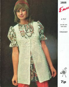Items similar to PDF Vintage Womens Ladies Waistcoat Crochet Pattern Tunic Pretty Emu 2888 Ladies Groovy Lacy Boho Peasant Folk Groovy Medieval on Etsy PDF Vintage Womens Ladies Waistcoat Crochet Pattern Tunic<br> Vintage Knitting, Vintage Crochet, Hippie Style, Crochet Bikini, Knit Crochet, Tunic Pattern, Sleeveless Jacket, Crochet Clothes, 1970s