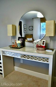 Dressing Table Gets Makeover for under 20 dollars {tutorial}. LilikoyJoy.com did a great makeover to a vanity from Ikea. I think it would make a great TV stand in the sunroom.