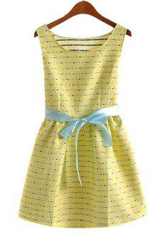 Yellow Sleeveless Polka Dot Belt Flare Dress US$33.61