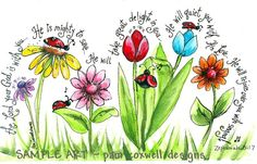 Ladybug Parade Print (Zephaniah - great art project idea, but can use different flowers & verses.maybe a tree or two? Scripture Art, Bible Art, Bible Scriptures, Bible Quotes, Biblical Quotes, Zephaniah 3 17, Bibel Journal, Art Plastique, Word Of God