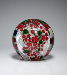 glass paperweights images | Poinsettia Paperweight - Art Glass Paperweight - by Shawn Messenger
