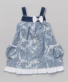 Look at this #zulilyfind! Blue & White Pocket A-Line Dress - Infant, Toddler & Girls by La Fleur & Le Papillon #zulilyfinds