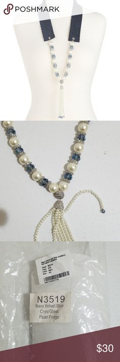 GARDENIA Navy Velvet And Blue Crystal Pearl Tassel navy velvet strap glass pearl, blue crystal GARDENIA Jewelry Necklaces