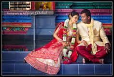 couple shot at the temple after the wedding