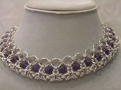 Byzantine Chainmaille Choker With Gem of Your by CBeDazzle on Etsy, $300.00 #chainmaille chainmaille, necklace, scalemail, choker. Tribal, elven, chain #Women's Jewelry  http://awesomewomensjewelryeunice.blogspot.com