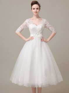 Beautiful Tea Length Lace Wedding Dress with Sleeves DV
