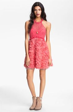 Free People Lace & Rosette Dress